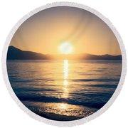 Soft Sunset Lake Round Beach Towel