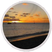 Soft Warm Quiet Sunset Round Beach Towel