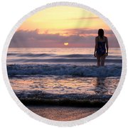 Soft Waves Round Beach Towel