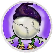 Softball Wizard Round Beach Towel