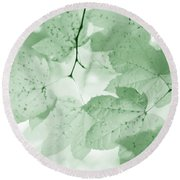 Softness Of Green Leaves Round Beach Towel