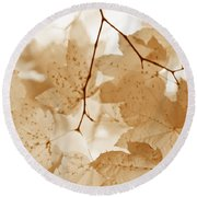 Softness Of Rusty Brown Leaves Round Beach Towel