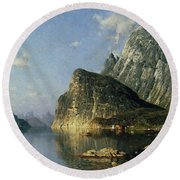 Sogne Fjord Norway  Round Beach Towel