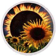 Solar Corona Over The Sunflowers Round Beach Towel