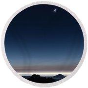 Solar Eclipse, Corona Round Beach Towel