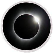 Solar Eclipse Diamond Ring Round Beach Towel
