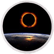 Solar Eclipse From Above The Earth 2 Round Beach Towel
