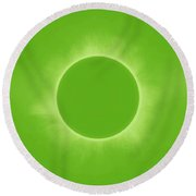 Solar Eclipse In Fresh Green Mint Colors Round Beach Towel