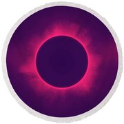 Solar Eclipse In Hipster Colors Round Beach Towel