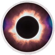 Solar Eclipse In Infrared 2 Round Beach Towel