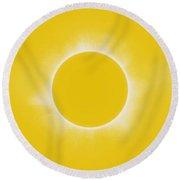 Solar Eclipse In Lemon Colors Round Beach Towel