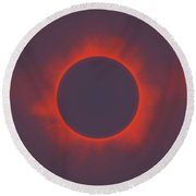 Solar Eclipse In Martian Colors Round Beach Towel