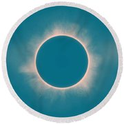 Solar Eclipse In Morning  Color Round Beach Towel