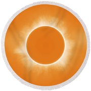 Solar Eclipse In Orange Colors Round Beach Towel