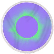 Solar Eclipse In Purple And Green Colors Round Beach Towel