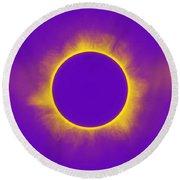 Solar Eclipse In Purple Round Beach Towel