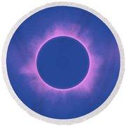 Solar Eclipse In Purple Color Round Beach Towel