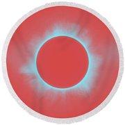 Solar Eclipse In Reddish Pink Round Beach Towel
