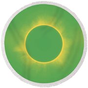 Solar Eclipse In Spring Green Color Round Beach Towel