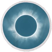 Solar Eclipse In Stormy Sky Color Round Beach Towel