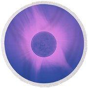 Solar Eclipse In Totality 10 Round Beach Towel