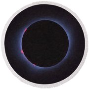 Solar Eclipse In Totality 4 Round Beach Towel
