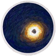 Solar Eclipse In Totality Painting Round Beach Towel