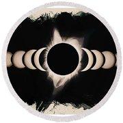 Solar Eclipse Phases 2 Round Beach Towel