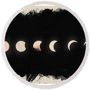 Solar Eclipse Phases Round Beach Towel