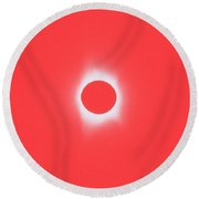 Solar Eclipse, Saros Cycle In Red Candy Color Round Beach Towel