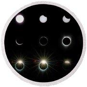 Solar Eclipse Sequence 2017 Round Beach Towel