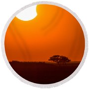 Solar Eclipse Setting Over The Marsh Round Beach Towel