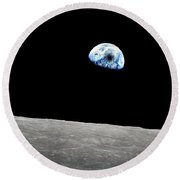 Solar Eclipse Viewed From The Moon Surface Round Beach Towel