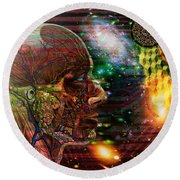 Solar Insight Of Round Beach Towel by Joseph Mosley