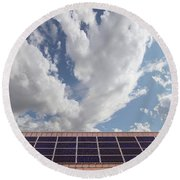 Solar Panels On Roof Top Round Beach Towel