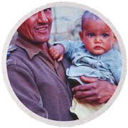 Soldier And Baby Round Beach Towel