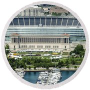 Soldier Field Stadium In Chicago Aerial Photo Round Beach Towel