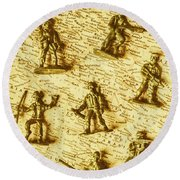 Soldiers And Battle Maps Round Beach Towel
