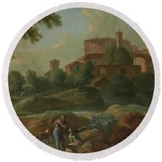 Soldiers And Dogs Near A River Round Beach Towel