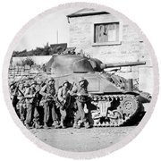 Soldiers And Their Tank Advance Round Beach Towel
