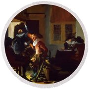 Soldiers Beside A Fireplace 1632 Round Beach Towel