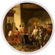 Soldiers In A Tavern During The Thirty Years Round Beach Towel