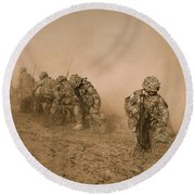 Soldiers In The Dust 2 Round Beach Towel