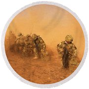 Soldiers In The Dust 4 Round Beach Towel