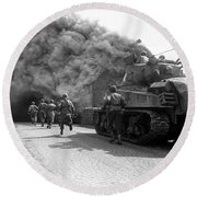 Soldiers Move Through A Smoke Filled Round Beach Towel