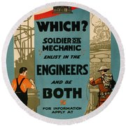 Soldiers Or Mechanic Round Beach Towel