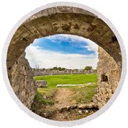 Solin Ancient Arena Old Ruins Round Beach Towel