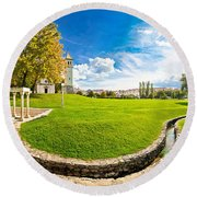Solin Park And Church Panoramic View Round Beach Towel