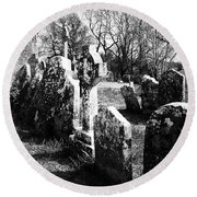 Solitary Cross At Fuerty Cemetery Roscommon Irenand Round Beach Towel