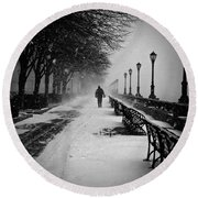 Solitary Man In The Snow Round Beach Towel